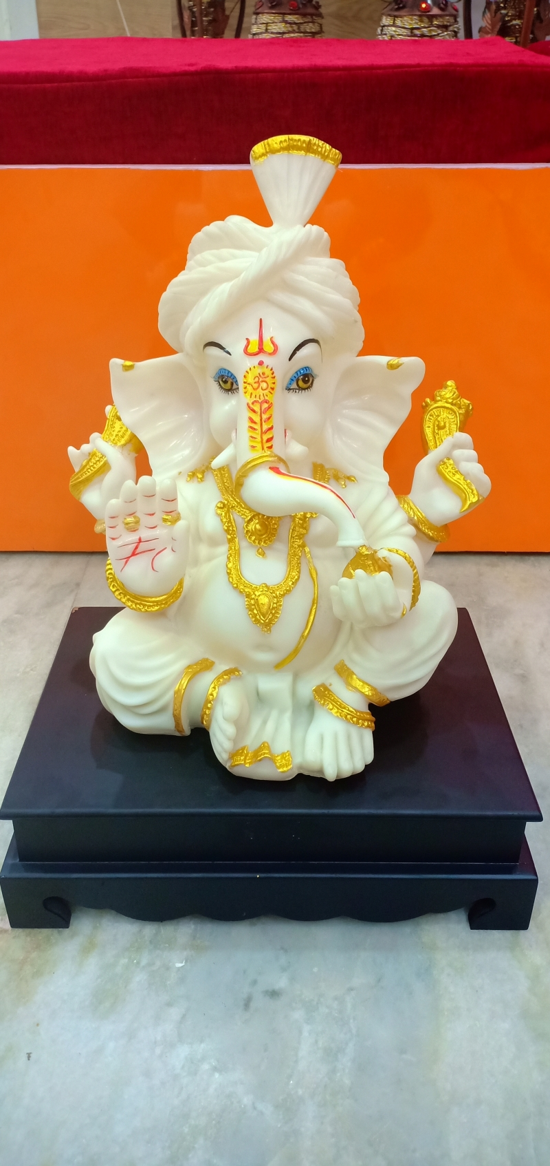 Buy Genuine White And Golden Big Ganesha Polyresin Idols Bring